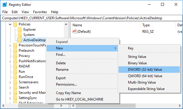 Right-click on ActiveDesktop then select New and DWORD (32-bit) value
