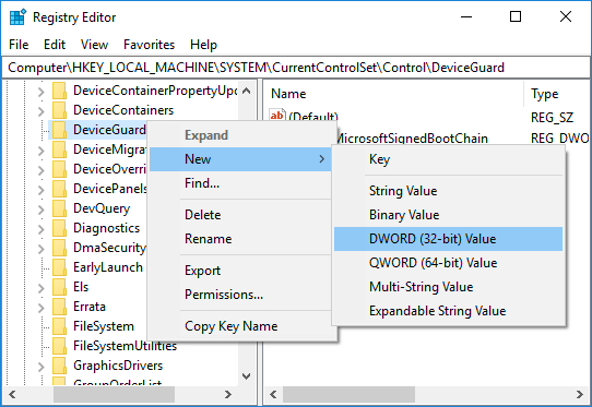 Right-click on DeviceGuard then select New DWORD (32-bit) Value