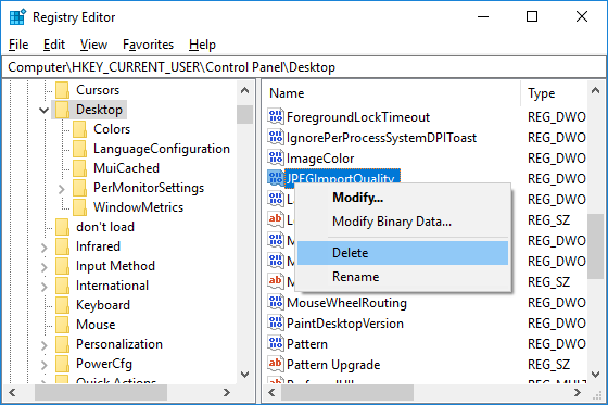 Right-click on JPEGImportQuality DWORD and select Delete