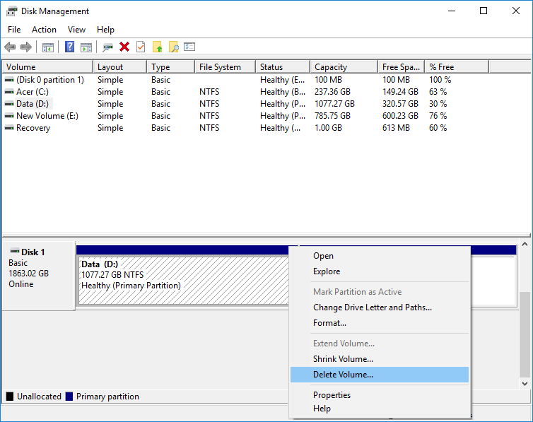 Right-click on the partition or volume you want delete then select Delete Volume