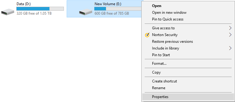 Select Properties for the partition for which you want to run defragmentation