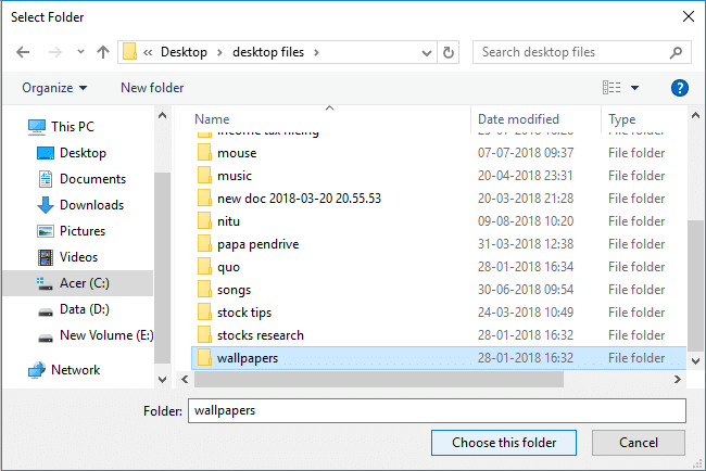 Select the folder which contains all the images for slideshow then click Choose this folder