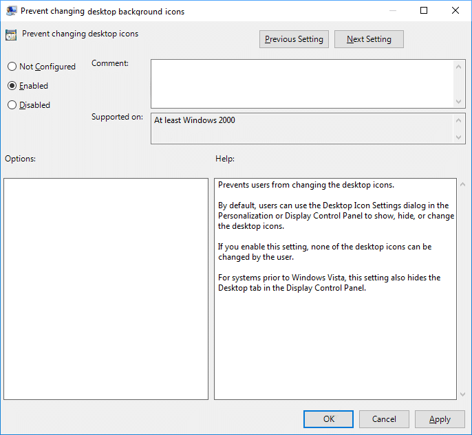 Set the Policy Prevent changing desktop icons to Enabled