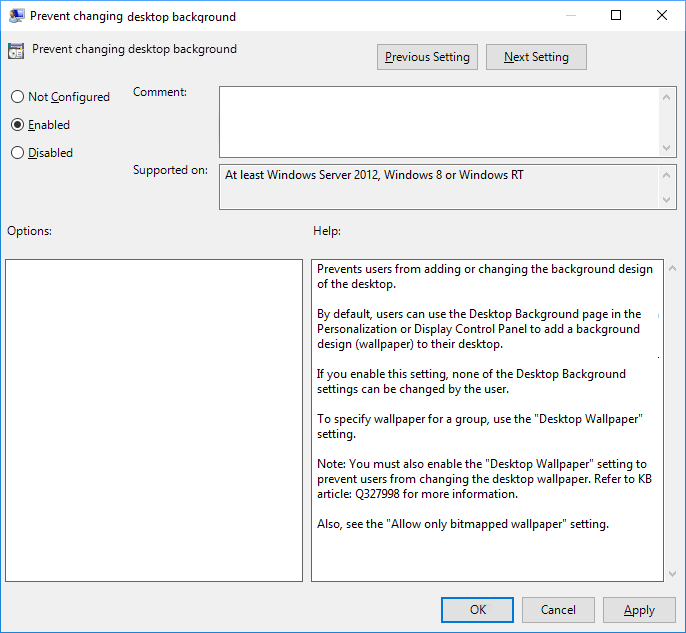 Set the policy Prevent changing desktop background to Enabled