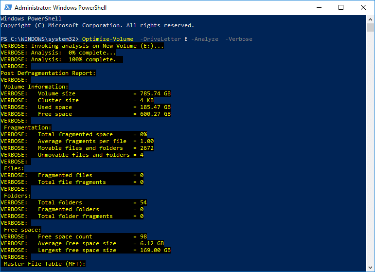 To Optimize and Defragment Drives Using PowerShell use the following command