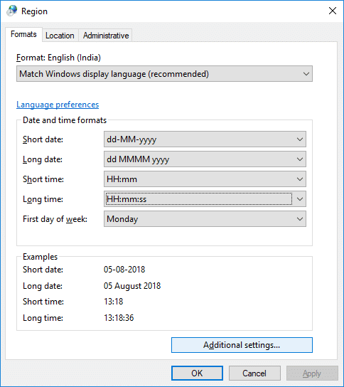 To add a custom format click on Additional settings   How to Change Date and Time Formats in Windows 10