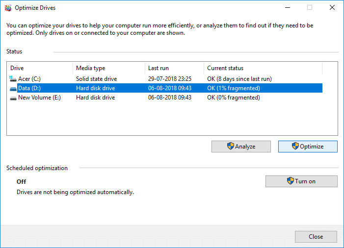 To optimize the drive click the Optimize button | How to Optimize and Defragment Drives in Windows 10