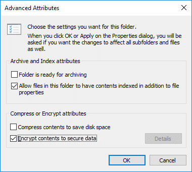 Under Compress or Encrypt attributes checkmark Encrypt contents to secure data