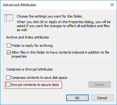 Under Compress or Encrypt attributes uncheck Encrypt contents to secure data