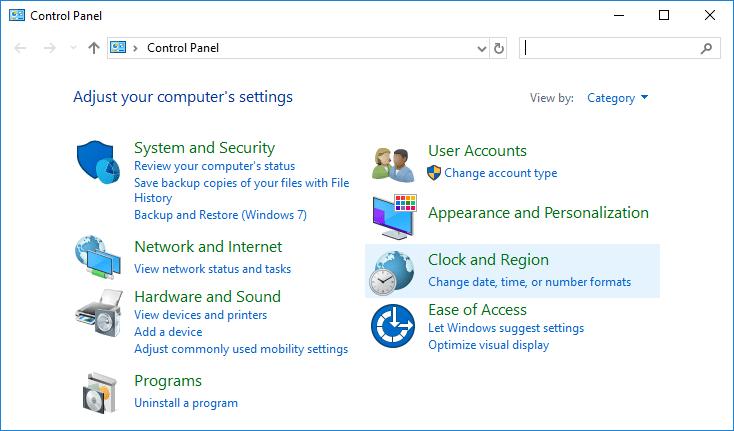 Under Control Panel click on Clock, Language, and Region