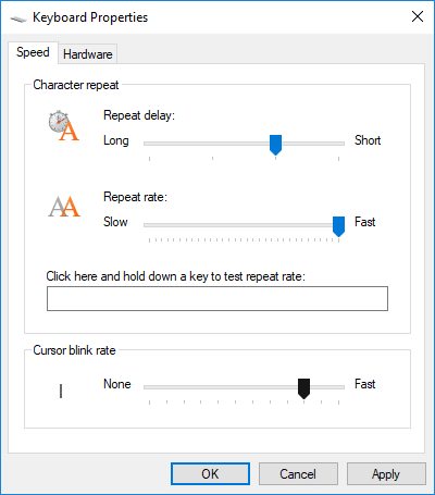 Under Cursor blink rate adjust the slider for the blink rate you want | 3 Ways to Change Cursor Thickness in Windows 10