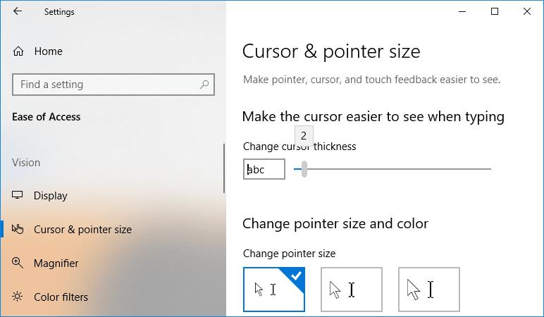 Under Cursor thickness drag the slider towards left to decrease cursor thickness