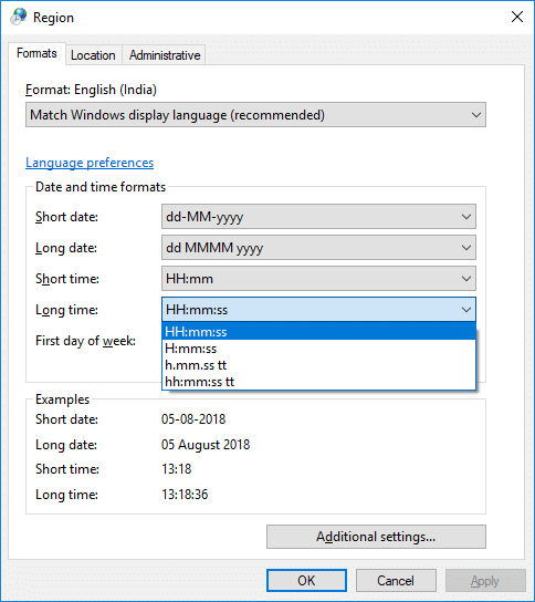 Change Date and Time Formats in Control Panel