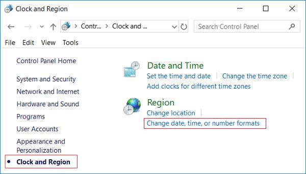Under Region click on Change date, time, or number formats
