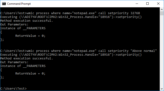 Change CPU Process Priority in Windows 10 using Command Prompt