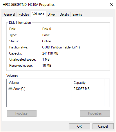 Check Partition style for this disk is GUID Partition Table (GPT) or Master Boot Record (MBR)