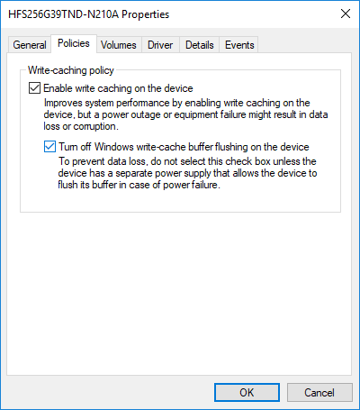Check or uncheck Turn off Windows write-cache buffer flushing on the device
