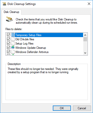 Check or uncheck items you want to include or exclude from Extended Disk Clean up