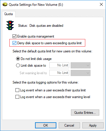 Checkmark Deny disk space to users exceeding quota limit