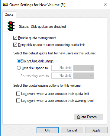 CheckmarkDo not limit disk usage to disable quota limit