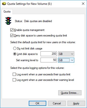 Checkmark Limit disk space to and set the Quota limit & warning level