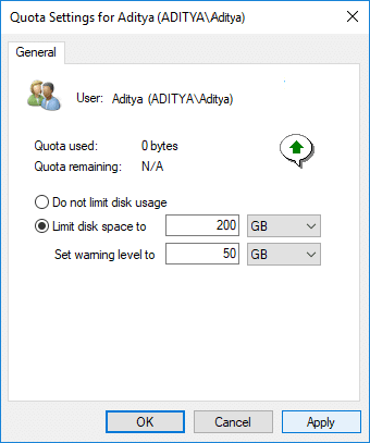 Checkmark Limit disk space tothen set the quota limit and warning level for the specific user