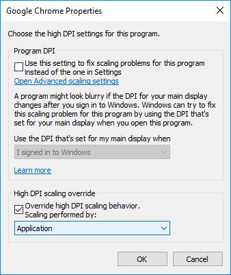 Checkmark Override system DPIunder Application DPI