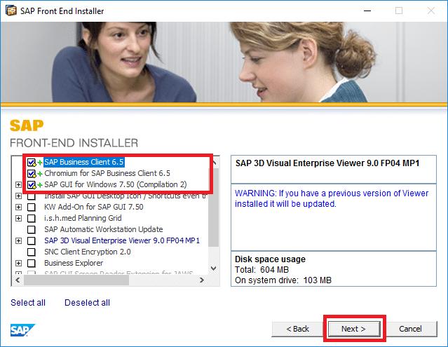Checkmark SAP Business Client 6.5, SAP GUI, and Chromium for SAP