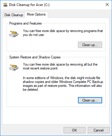 Click on Clean up button under System Restore and Shadow Copies