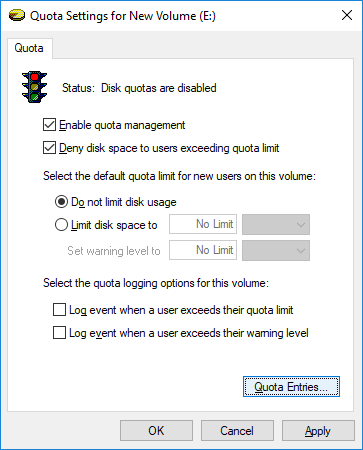 Click on Quota Entriesbutton at the bottom