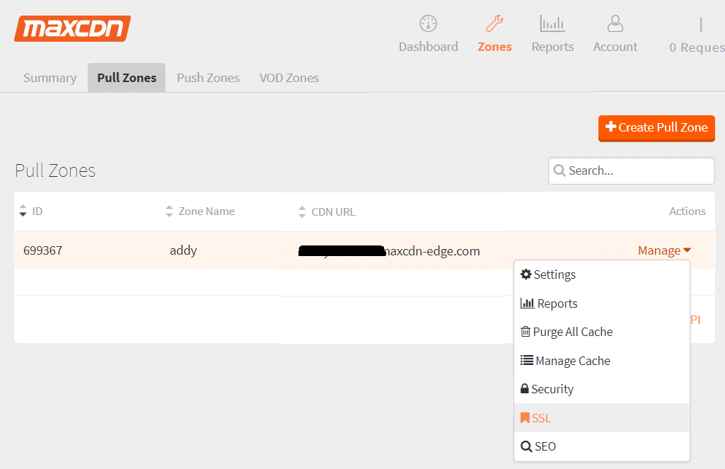 Click on the down arrow next to Managenext to your CDN Url under your pull zone