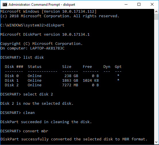 Convert GPT Disk to MBR Disk in Diskpart