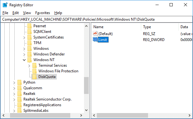 Double-click onLimitDWORD under Disk Quota Registry key