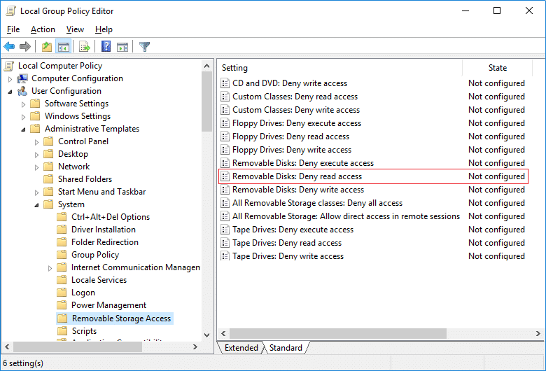 Double click onRemovable Disks Deny read access under Removable Storage Access