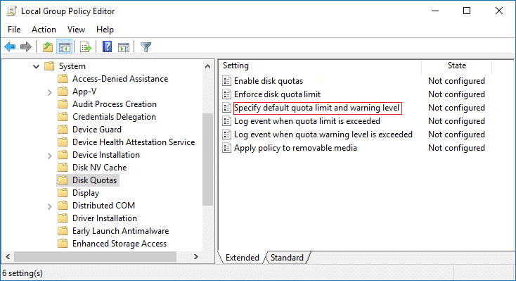 Double-click on Specify default quota limit and warning level in gpedit