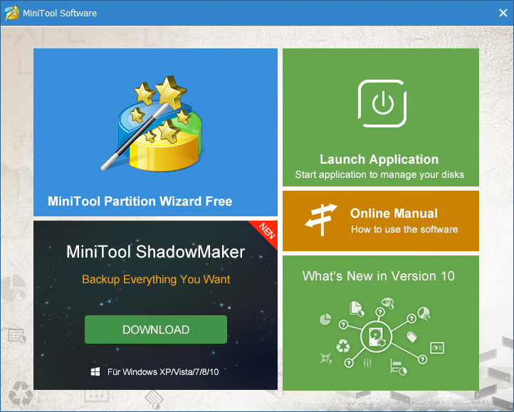 Double-click on the MiniTool Partition Wizard application then click on Launch Application