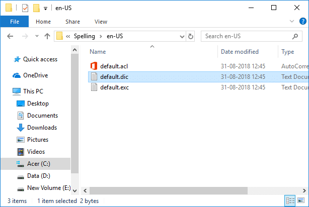 Double-click on the folder (language-specific dictionaries) for example en-US, en-IN