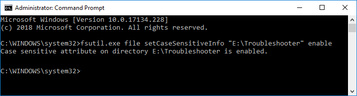 Enable Case Sensitive Attribute of a Folder