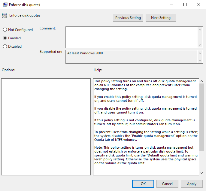 Enable or Disable Disk Quotas in Group Policy Editor