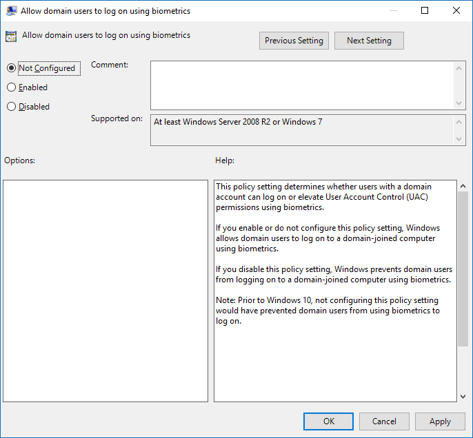 Enable or Disable Domain Users Sign in to Windows 10 Using Biometrics in Local Group Policy