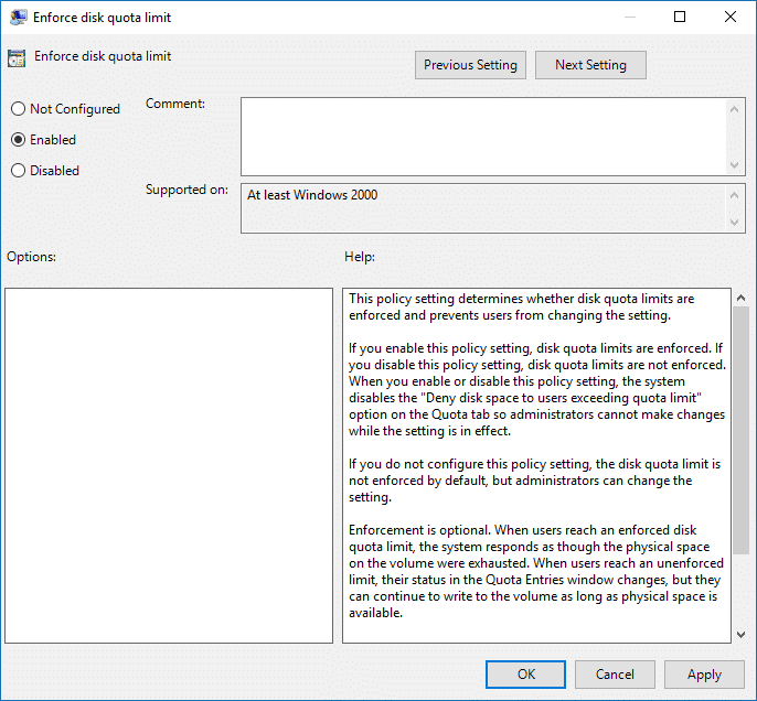 Enable or Disable Enforce Disk Quota Limits in Group Policy Editor