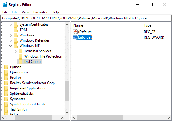 Enable or Disable Enforce Disk Quota Limits in Registry Editor