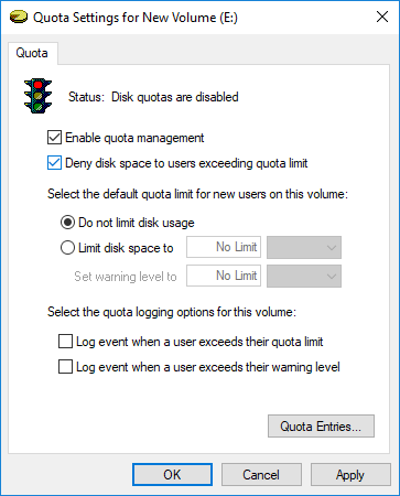 Checkmark Enable quota management and Deny disk space to users exceeding quota limit