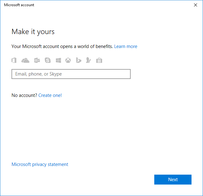 Enter the email address of your Microsoft account and then click Next