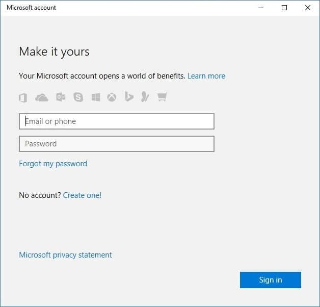 Enter your Microsoft account credentials and then click Sign in