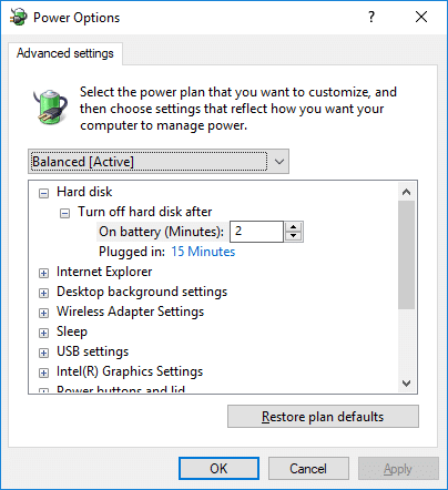 Expand Turn off hard disk after then change the settings for On battery and Plugged in