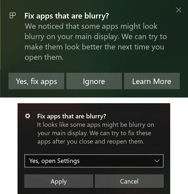 Fix Scaling for Blurry Apps in Windows 10