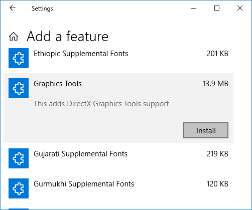 How to Install and Uninstall Graphics Tools in Windows 10