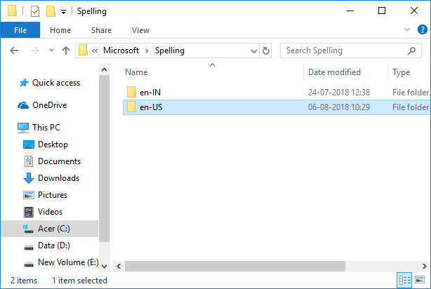 Navigate to Spell Checking Dictionary in Windows 10