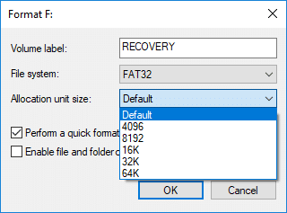 Now from Allocation unit size (Cluster size) drop-down make sure to select Default